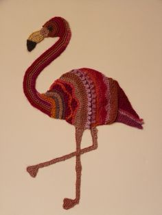 Freeform crocheted Flamingo by Ann*Benoot, inspired by Zentangle Drawing of power animals. Textile art 'painting' 40x50 cm