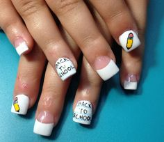 Back to School Nails School Nail Art, Back To School Nails, Fabulous Nails, Nail Designs, Nail Polish, Pie, My Style, Torte, Cake