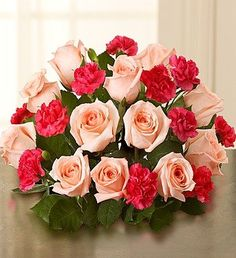 1-800-Flowers - Fair Trade Pink Roses & Mini Carnations - Bouquet Only By...