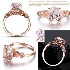 Oval Morganite Engagement Ring Pave Diamond 14K Rose Gold 8x10mm Heart Shank - Lord of Gem Rings - 1