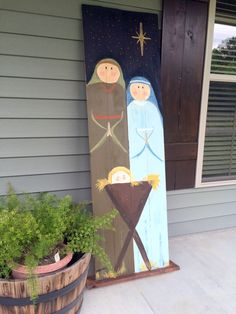 my DIY hand-painted life-size outdoor nativity scene! my DIY hand-painted life-size outdoor nativity scene! Pallet Christmas, Christmas Yard, Christmas Signs, Christmas Projects, Christmas Holidays, Christmas Ornaments, Diy Christmas Nativity Scene, Felt Ornaments, Outdoor Nativity Scene
