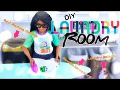 by request: Froggy's got another Funday Monday craft just in time for Laundry Day! Craft this Fabsome DIY Laundry Room complete Room in a Box craft with REA. Barbie Dolls Diy, Barbie Hair, Barbie Clothes, Barbie Stuff, Doll Stuff, Girl Dolls, Girls Dollhouse, Diy Dollhouse, Barbie Dream