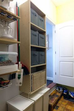 We were very lucky to have an awkward space that I turned into a pantry. It's amazing how quickly it gets disorganized though! Customize your storage for the best results! Office Built Ins, Built In Desk, Built In Bookcase, Pantry Shelving Units, Floating Storage Shelves, Wooden Pantry, Diy Fireplace Mantel, Large Curtains, Pantry Organization