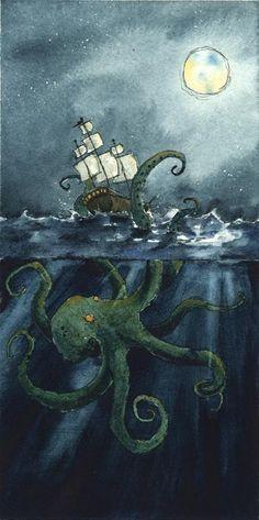 The Lowbrow Art Sale: Sylvia Ji, Luke Chueh & Drew Falchetta Steampunk Artwork, Octopus Art, Nautical Art, Lowbrow Art, Sea Monsters, Kraken, Art For Sale, Les Oeuvres, Maya