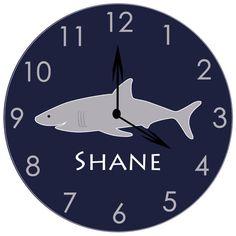 Shark clock, wooden clock, children's clock, navy and gray, nursery clock, personalized clock, nautical nursery, clocks for kids