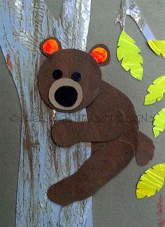 Bear original art, Forest animal art, Woodland animal nursery art, Brown bear art, Bear kids art, Original nursery art, Original kids art. $30.00, via Etsy.