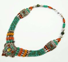Multi #layerednecklace with beautiful #turquoise stones completely handmade by local artisans. Add it to your quirky and fun #accessory collection