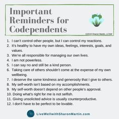 12 Daily Reminders to Change Your Codependent Thinking - Live Well with Sharon Martin Healthy Affirmations, Affirmations Positives, Toxic Relationships, Healthy Relationships, Relationship Advice, Sharon Martin, Codependency Recovery, Codependency Quotes, Mental And Emotional Health