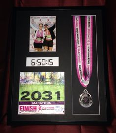"""Runners Racebox - 26.2 Donna Marathon - 16x20 Shadowbox Frame Custom made 16x20 shadowbox picture frame to proudly display all your race bling! Frame is 1.5"""" deep and holds your finisher medal, race bib, finishing time, and a vertical 5x7 photo. Great gift for yourself, or anyone finishing any distance running race: Marathon, Half Marathon (especially Disney!), 10k, 5k, or an obstacle race / mud run! https://www.etsy.com/listing/254317633/runners-racebox-16x20-shadowbox-picture"""
