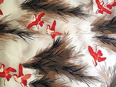 Vintage Fabric Red Swallows/Birds in Grass Hunting by PeppersHouse Black Grass, Swallow Bird, Hopscotch, Sewing Material, Swallows, Vintage Sewing, Brown And Grey, Etsy Store, Colorful Backgrounds