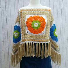 Boho 4 Square Poncho Flower Child Hippie OOAK Free by MarieX3