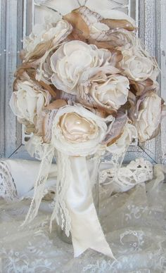 Vintage Inspired Wedding Bouquet Cream, Ivory and Beige Custom Order any color on Etsy, $100.00