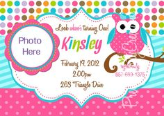 GIRL polka dot owl Birthday invitation  U by PrettyPartyCreations, $9.50
