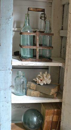 Faded Charm: ~Blue Primitive Cupboard~