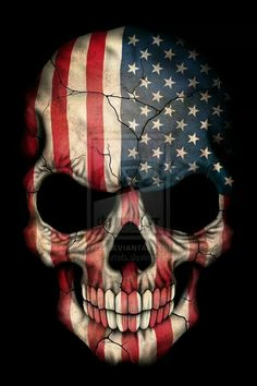 This Unique Design Features The Flag Of United States Painted On An Aggressive Skull American Colours Cover Entire With Large Cracks