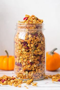 In this recipe you will find all the flavors of fall together in one bowl of perfectly crunchy and sweet, pumpkin flavored granola. The spices of fall bake