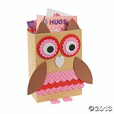 Owl Valentine Holder Craft Kit... you could make these with brown paper bags.  Would be cute for back to school bags!