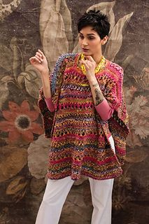 Crochet Edging And Borders A quick and satisfying knit, this open poncho provides a simple canvas for the rich marled tones of bulky cotton-blend Ginga. Bands of single and double eyelets complement the contrasts in raspberry, lemon and violet colorway Knitted Poncho, Crochet Shawl, Knit Crochet, Cooler Look, Knitting Magazine, Shawls And Wraps, Crochet Clothes, Knitting Patterns, Garter Stitch