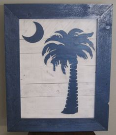 Blue Palmetto Moon - 18x24 - Reclaimed Pallet Pallet Painting, Pallet Art, Pallet Ideas, Pallet Projects, Art Projects, Palmetto Tree, Palmetto Moon, Simply Southern, Southern Charm