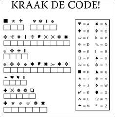 Afbeelding: heb je een leerling die sneller met een opdracht klaar is? Laat hem/haar deze code kraken. #klasmanagement