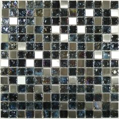 For the New Hot Tub - Onyx Squares Glossy & Iridescent Glass and Metal Tile