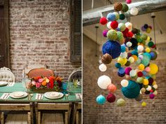 Love this yarn chandelier idea from a colorful baby shower. So much fun!