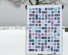 "I love this surprisingly simple ""Rectangle Squared"" quilt by Ashley Newcomb, here made up in fabrics from the  ""Innocent Crush"" line."