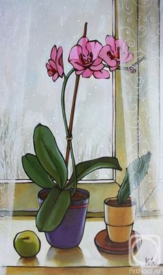 Flower Painting Canvas, Pen And Watercolor, Through The Window, Houseplant, Abstract Flowers, Still Life, Orchids, Glass Vase, Illustrations