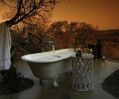 Outdoor bathrooms are a great way to bring the indoors out in a freeing, yet completely private way.
