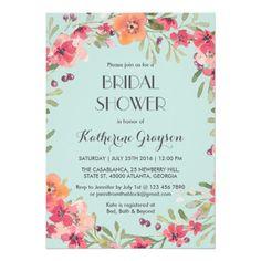 Pink Blue Vintage Flower Bridal Shower Invitation