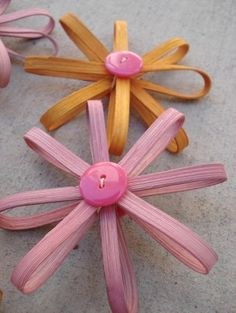 Pink and Tangerine Flower Daisy Basket Ornaments by Baskauta eclectic artwork