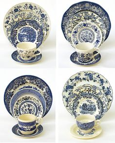 Blue & White - vintage china. Would layer with normal plates