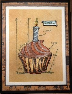 Kathy Schwartz Lussier: Tim Holtz Blueprint Birthday stamp/die set; watercolors; Tattered Angels Butterscotch spray mist; Clear Rock Candy Distress Stickles