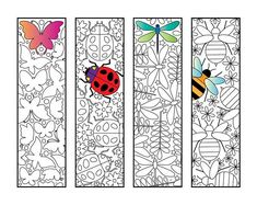 Insect Bookmarks – PDF Zentangle Coloring Page – Butterfly, Ladybug, Dragonfly, Bee - insects Insect Coloring Pages, Printable Coloring Pages, Colouring Pages, Adult Coloring Pages, Coloring Book, Lady Bug, Heart Bookmark, Feather Design, Art Lessons