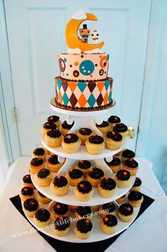 Sweet Life Bakery, Vineland, NJ - Serving Philly, to LBI, to Cape May and beyond! thesweetlifebakery.com #weddingcake #cupcakes #weddingcupcakes #cupcaketower #cats #moon #funky #fondantcaketopper #ganache