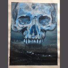 Blue monochrome skull painting acrylic Skull Painting, Monochrome, My Arts, Blue, Monochrome Painting
