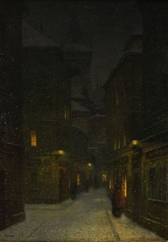 Jakub Schikaneder (1855-1924) - Street in the Evening, Prague
