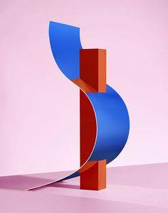 Credit: Jess Bonham by Grain Edit Geometric Sculpture, Abstract Sculpture, Sculpture Art, Sculptures, 3d Cinema, Memphis Design, Modern Graphic Design, 3d Design, Installation Art