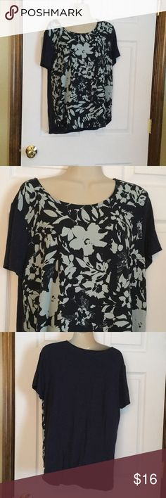Banana Republic Navy Top Longer in front than back.  Super soft material. Navy with light blue print in front.  Made in Vietnam.  95% rayon and 5% elastin.  Like new condition, worn 1 time. Banana Republic Tops Blouses
