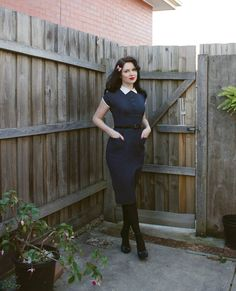 Esme and the Laneway: blue vintage dress, collar and buttons