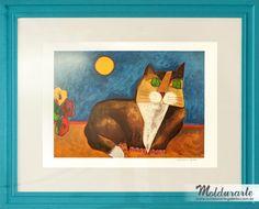 """Serigrafia """"Gato"""" com moldura azul. Artista: Aldemir Martins. Formato: 103 x 83 cm. Cód. 3948. contato@moldurartegaleria.com.br — em Moldurarte Galeria."""