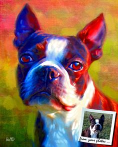 Boston Terrier Art - Boston Terrier Painting example on Etsy, $49.99 I want one of mag!