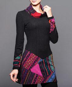 Look at this #zulilyfind! Pink & Black Patchwork Knit Cowl Neck Tunic #zulilyfinds