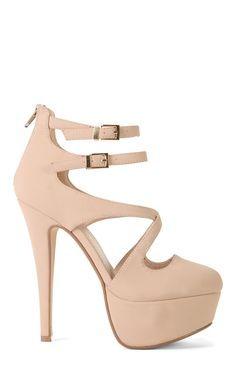Deb Shops Platform Round Toe Strappy High Heel with Criss Cross Bands $15.00