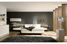habitación favorita de Niko; hay una grande cama, una alfombra, un armario  y varios cuadros. Las paredes son de color blanco y negro, hay una lampara y modernas cortinas