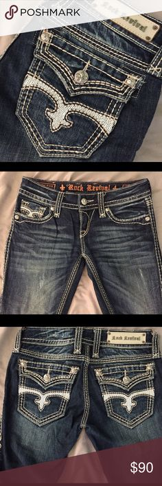 """Women's Rock Revival Madison Straight size 26 Ladies Rock Revival Madison Straight, slim fit, waist size 26, 32"""" inseam, like new - great value! Rock Revival Jeans Straight Leg"""