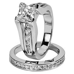 Eloi 2.1ct Wedding Band Anniversary Engagement Ring Bridal Set for Women Stainless Steel Cubic Zirconia