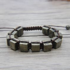 ► Product Description: The pyrite beads size is about 10mm. This bracelet is with adjustable closure, Please measure the narrowest place of your wrist, and select a size, ►IF YOUR WRIST SIZE IS MORE THAN 8 inches or LESS THAN 6 inches. ►Please Leave A Note About Your Wrist. ►We have