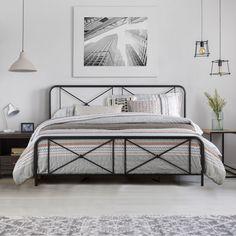 King Metal Bed Frame, Black Metal Bed Frame, Metal Beds, Black King Bed Frame, Black Bed Frames, Metal Bed Frames, Metal Canopy, Black Headboard, Black Bedding