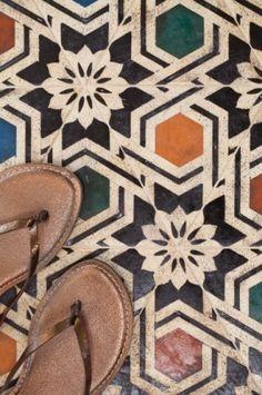 Encaustic tile floor tiles